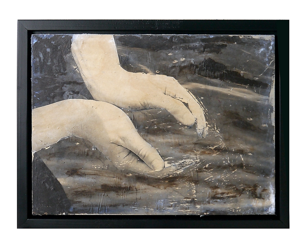 Holding Unto, 2015, Decollage Mixed Media on Panel, 12 in x 16 in