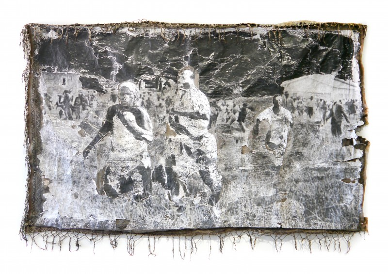 A Poem for Sharpeville One, Year: 2017, Medium: Decollage paper on found bedspread. Size: 67 in x 84 in