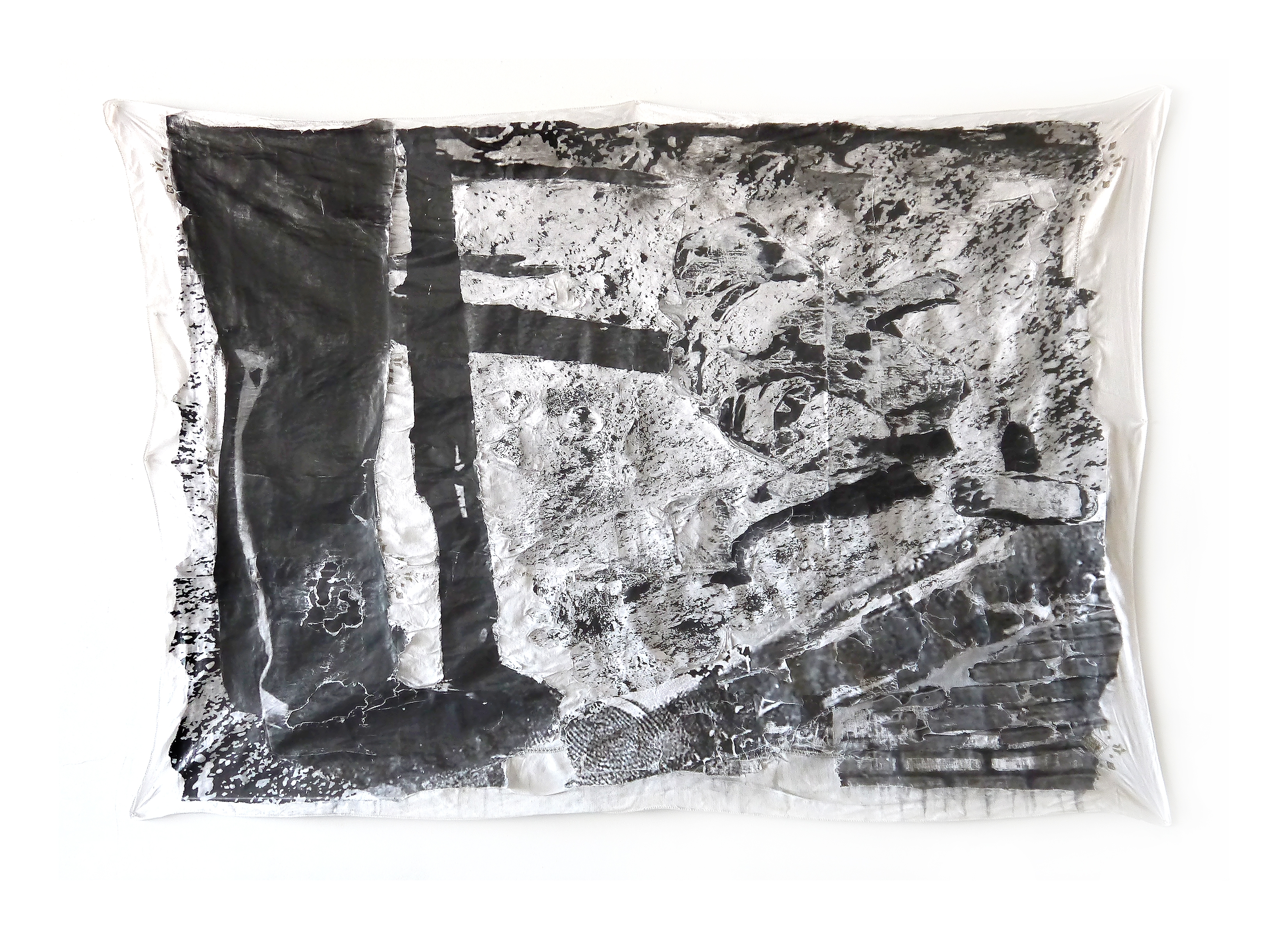 """A Poem for Sharpeville Two, Year: 2017, Medium: Decollage paper on found tablecloth. Size: 56"""" x 77"""""""